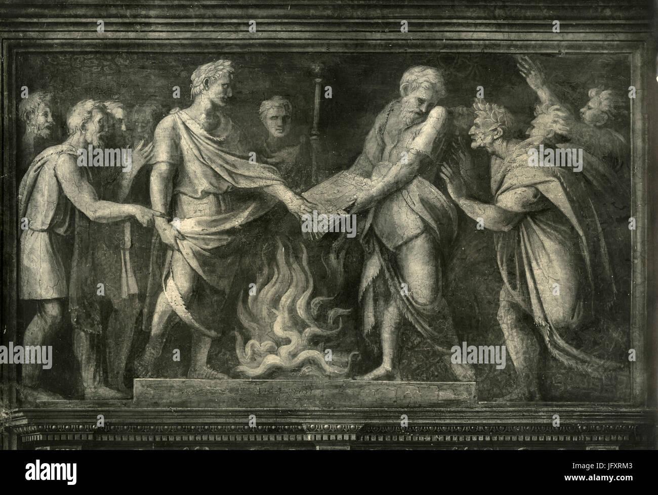 Augustus verhindert das Verbrennen der Aeneis, Stanzen des Raffael, Vatikanstadt Stockbild