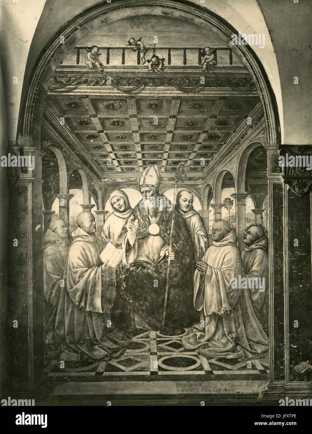 Institution der Regel Olivetan, Gemälde von Sodoma, Pienza, Italien Stockbild