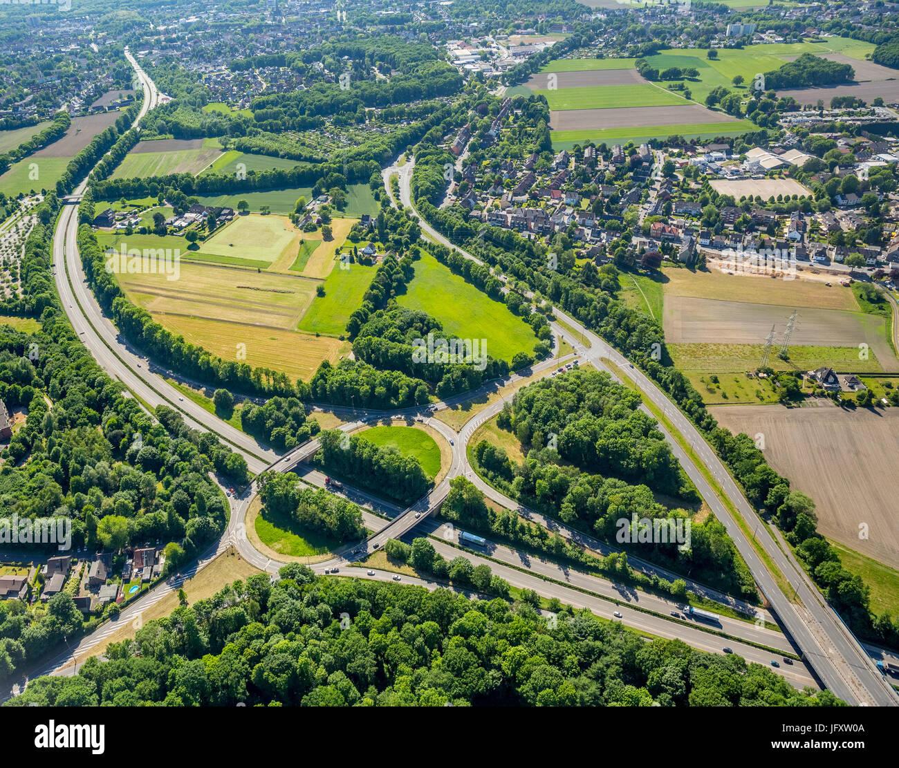 Autobahnzubringer Autobah A52 Und Bundesstraße 226 Und Bundesstraße 224, Kreisverkehr, Gelsenkirchen, Stockbild