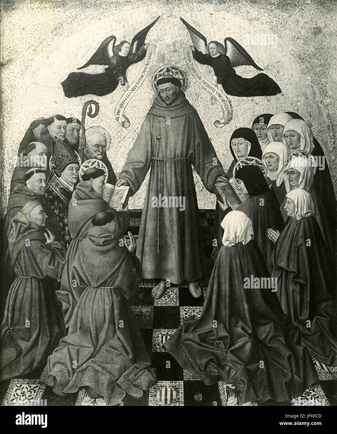 Sendung der franziskanischen Regel für Mönche und Clarisse, Gemälde von Niccolò Colantonio, Stockbild