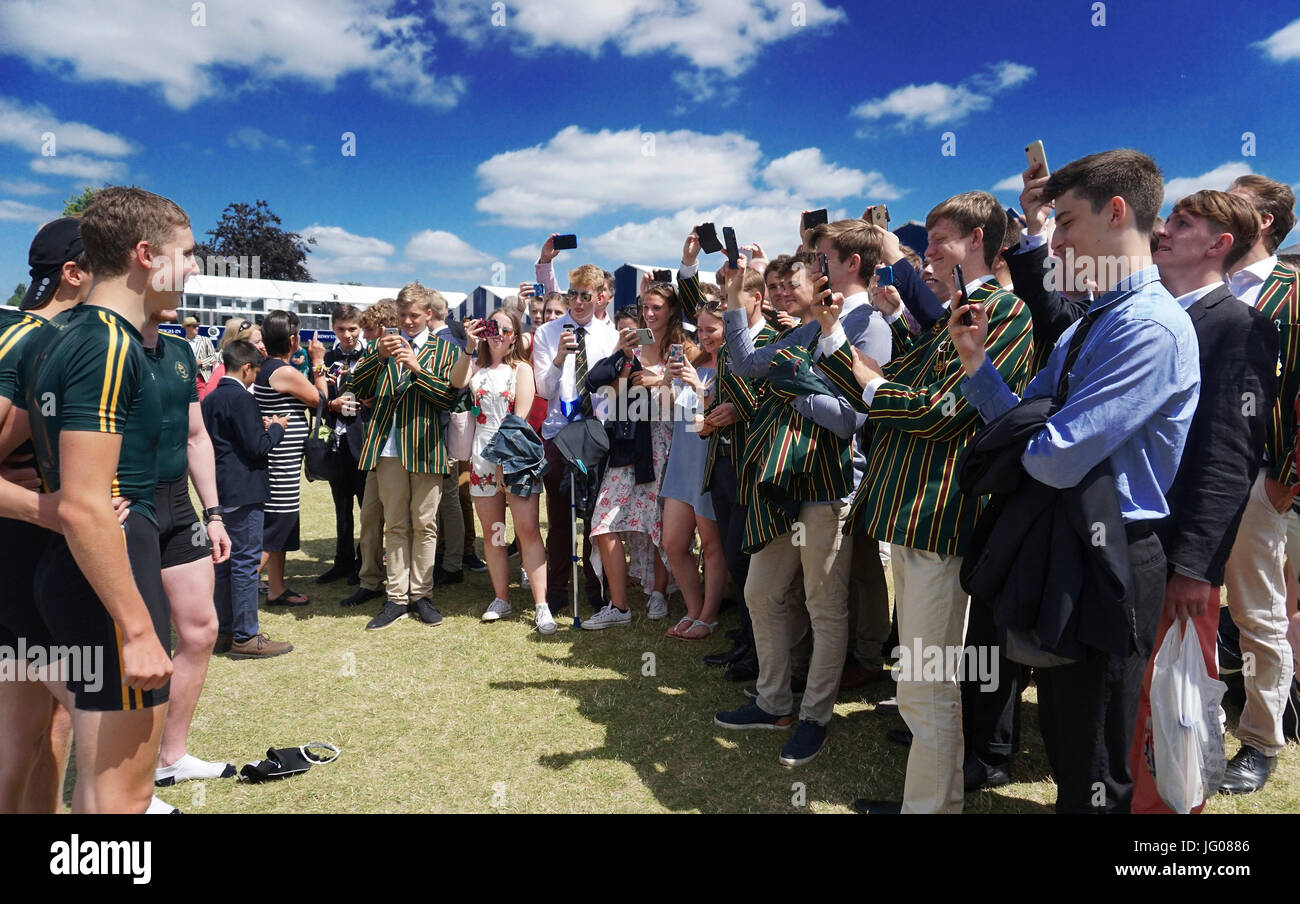 Henley, UK. 2. Juli 2017. Henley Royal Regatta auf der Themse in Henley, UK. 2. Juli 2017. Finaltag Credit: Leo Stockbild