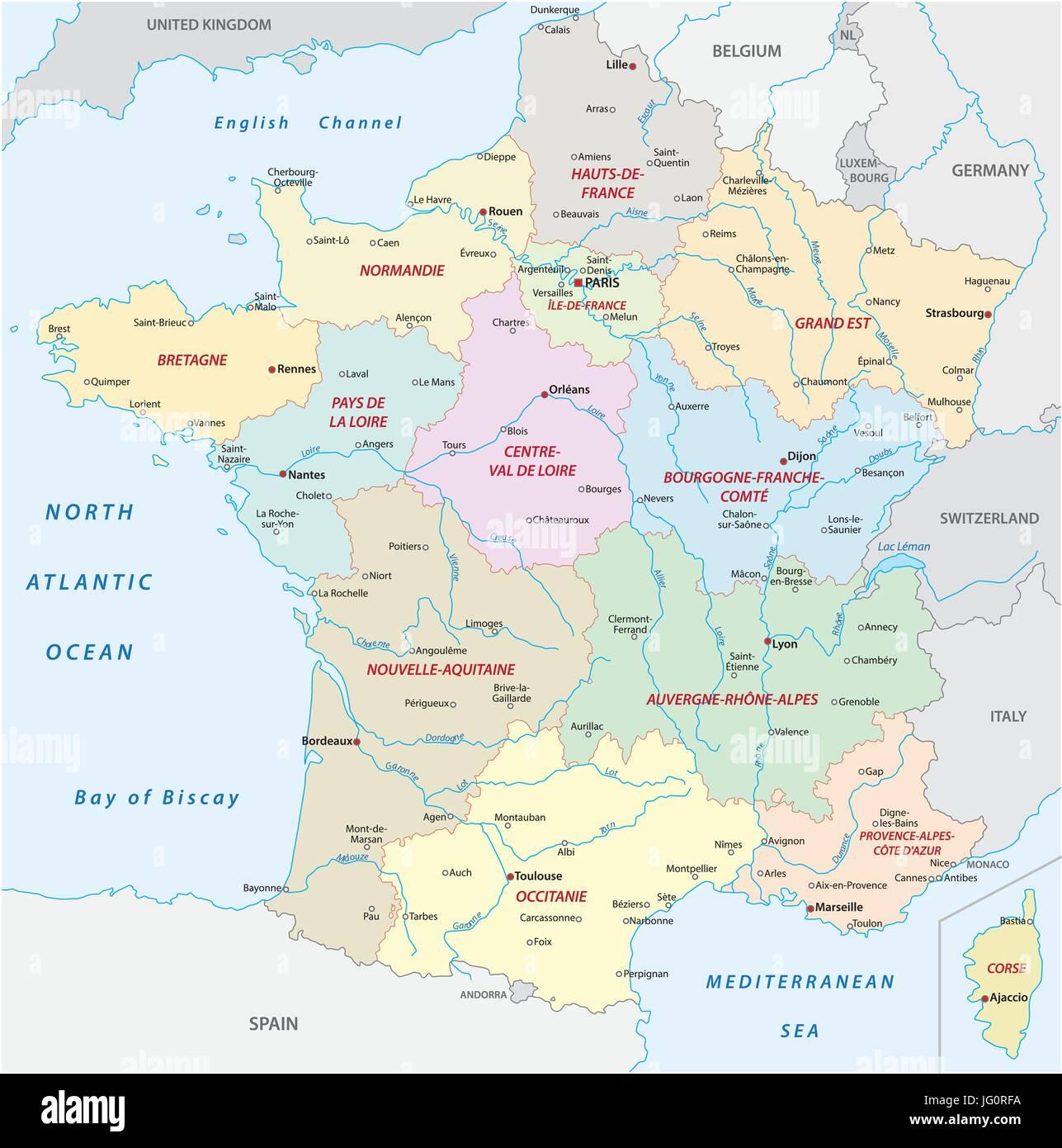 Frankreich Departements Karte.Frankreich Karte Mit Den Neuen Regionen Und Die Wichtigsten Städte
