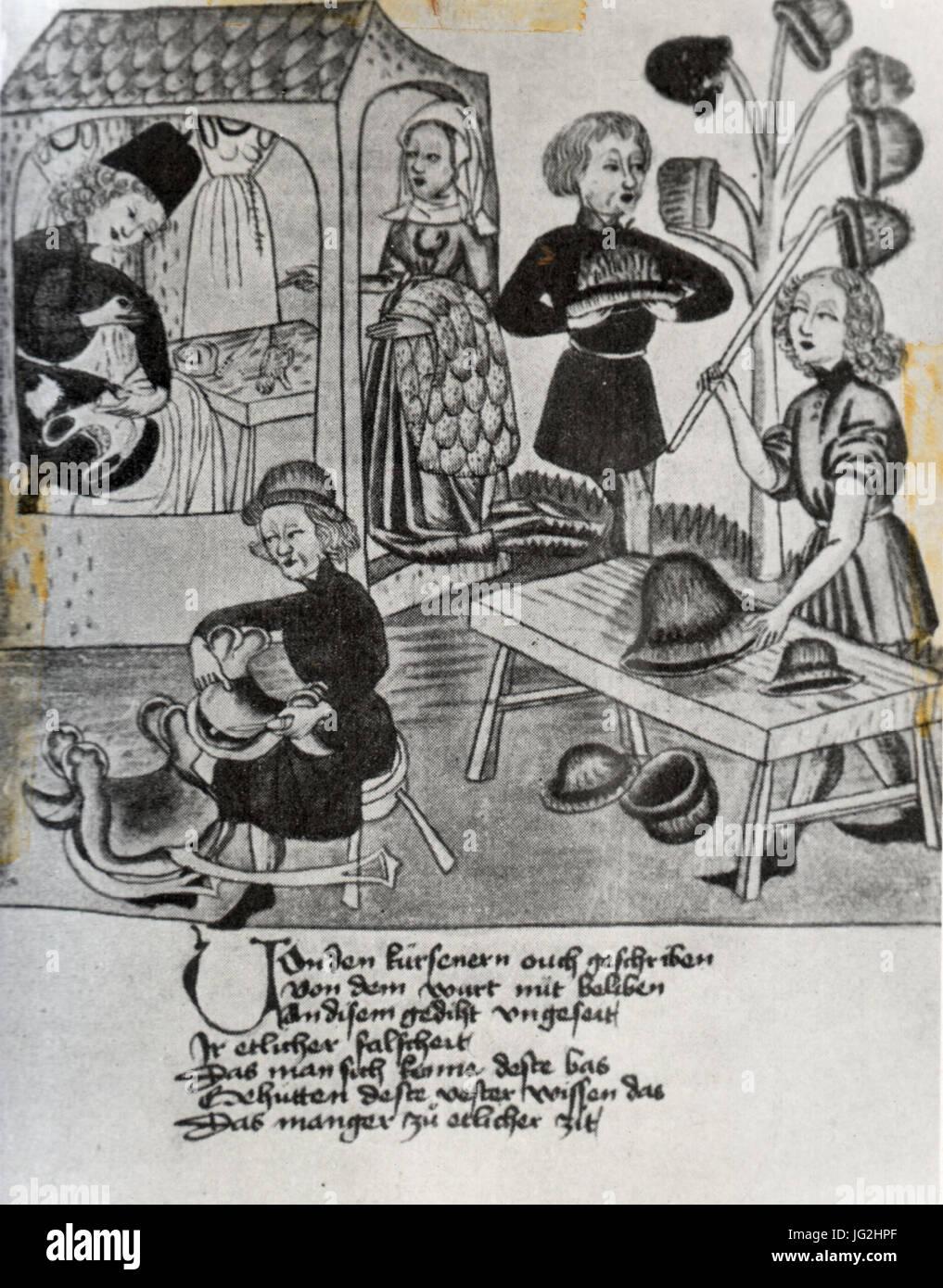Kürschner Und Sattler Bei der Arbeit. Schachbuch des Konrad von Ammenhausen, 15. Halbmonatsschrift Stockbild