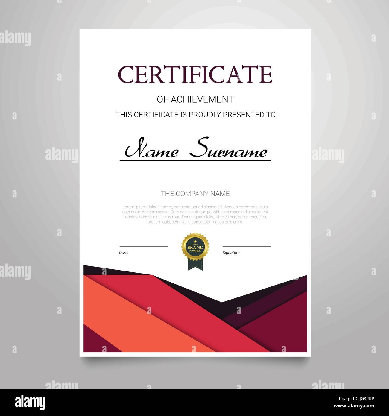 Zertifikat-Vorlage - moderne vertikale elegante Vektor Dokument mit ...