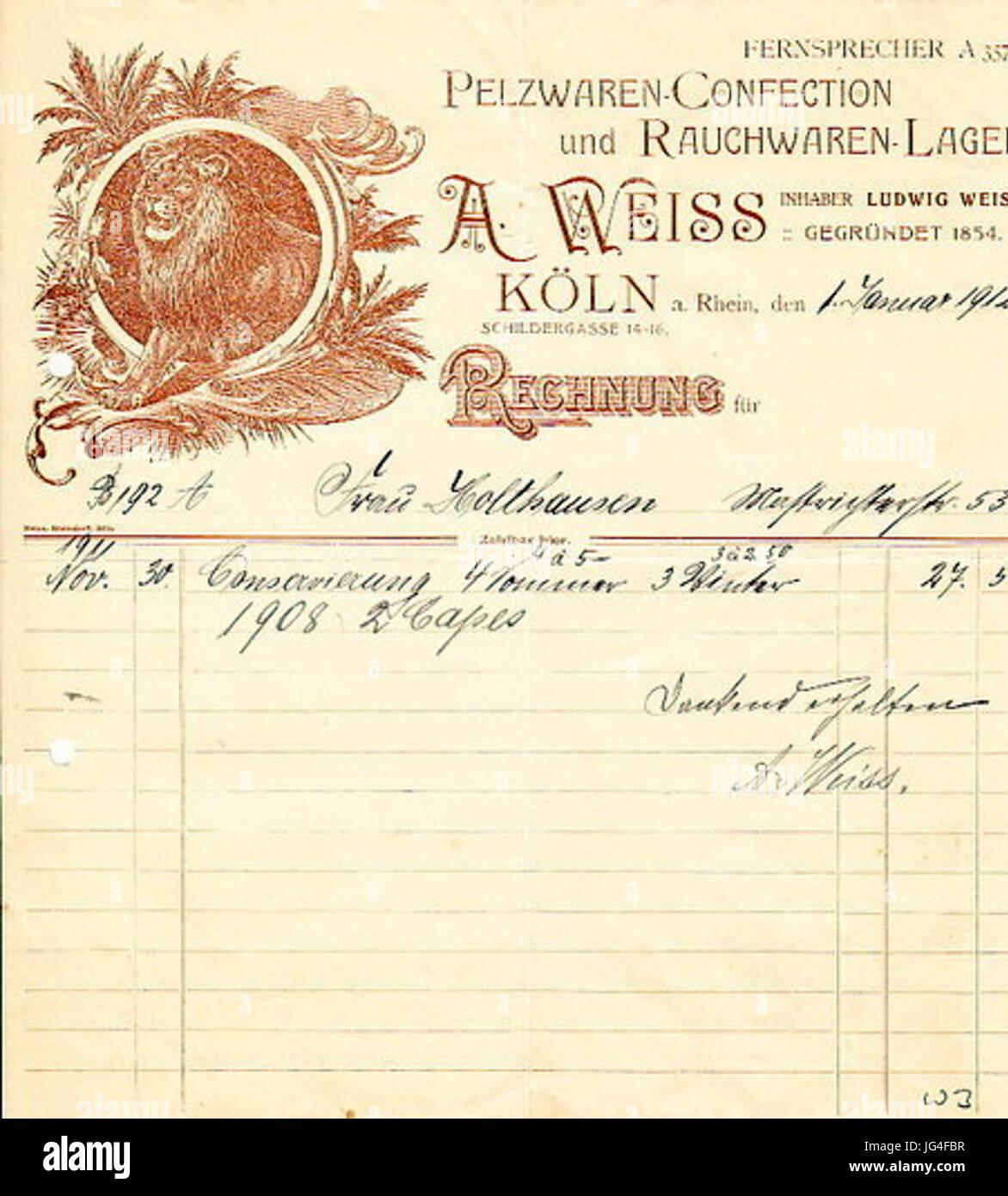 Pelzwaren A. Weiss Köln 1912 Konservierungs-Rechnung Stockbild