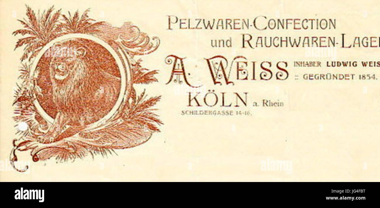 Pelzwaren A. Weiss Köln 1912 Konservierungs-Rechnung 28bearbeiteter Ausschnitt29 Stockbild