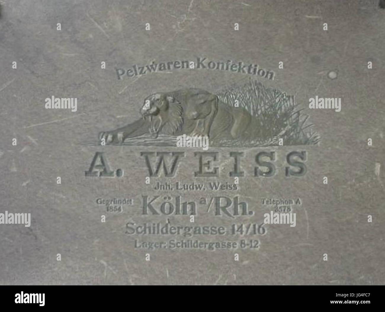 Pelzwaren-Konfektion A. Weiss Köln Schildergasse ca. 1905 Stockbild