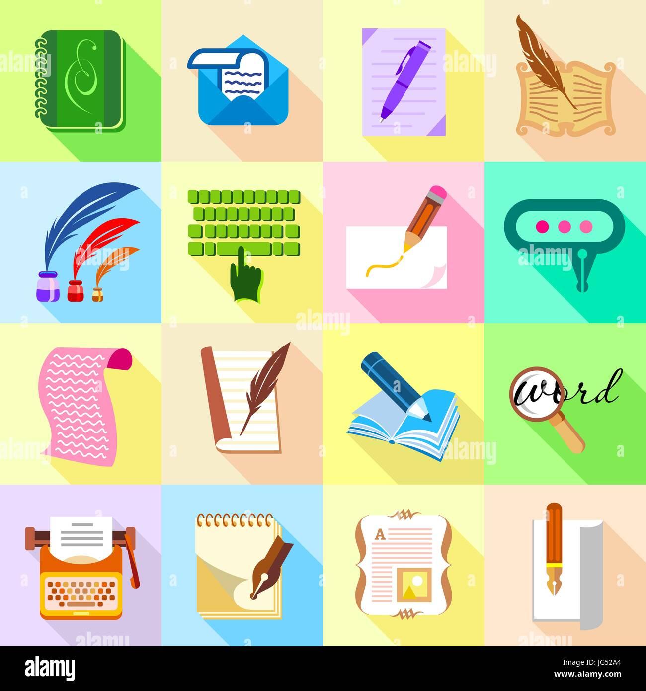 Schreiben Sie Brief Icons Set Flachen Stil Vektor Abbildung Bild