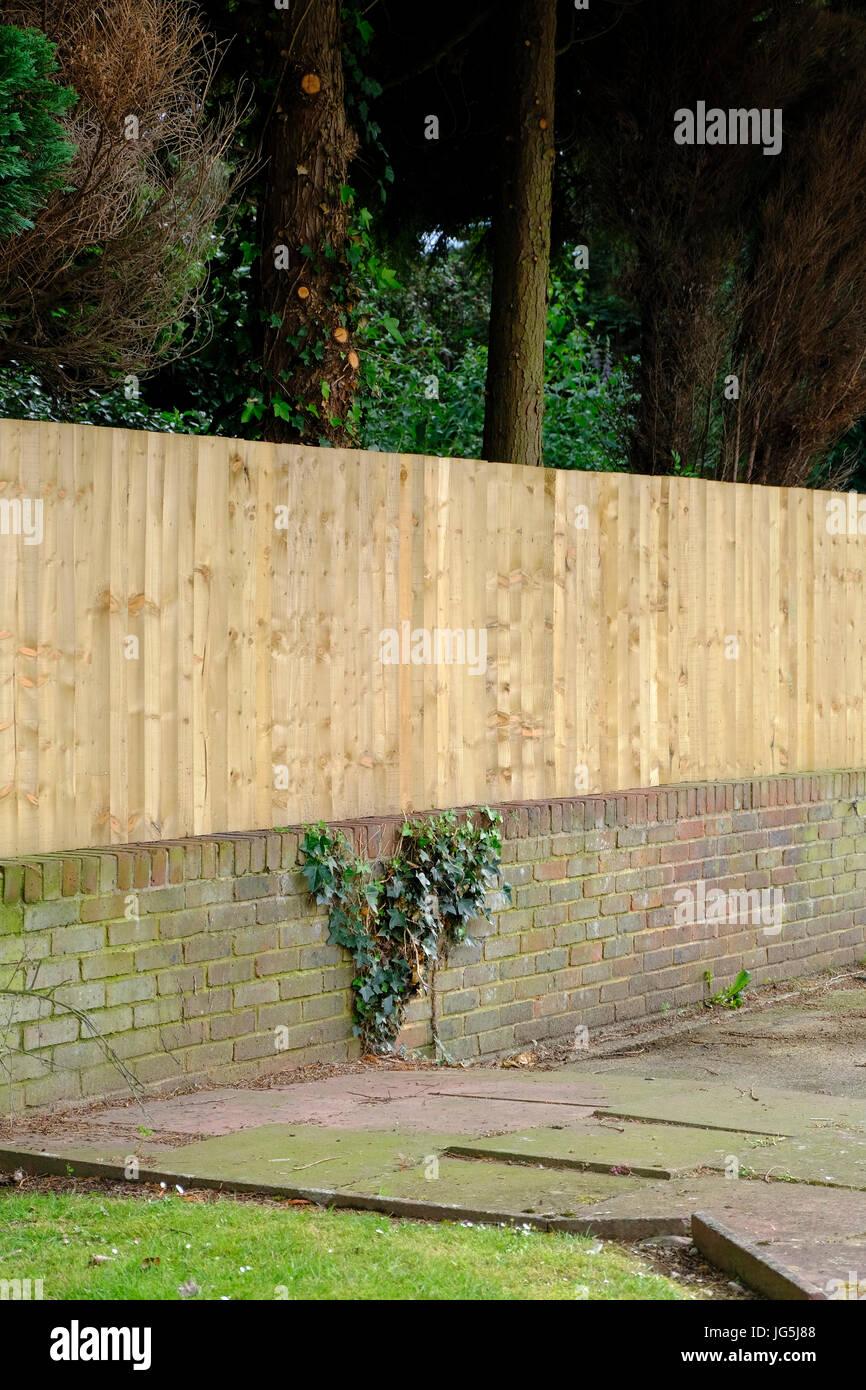 Neuen Holzzaun Bauen Auf Niedrige Mauer Sussex Grossbritannien