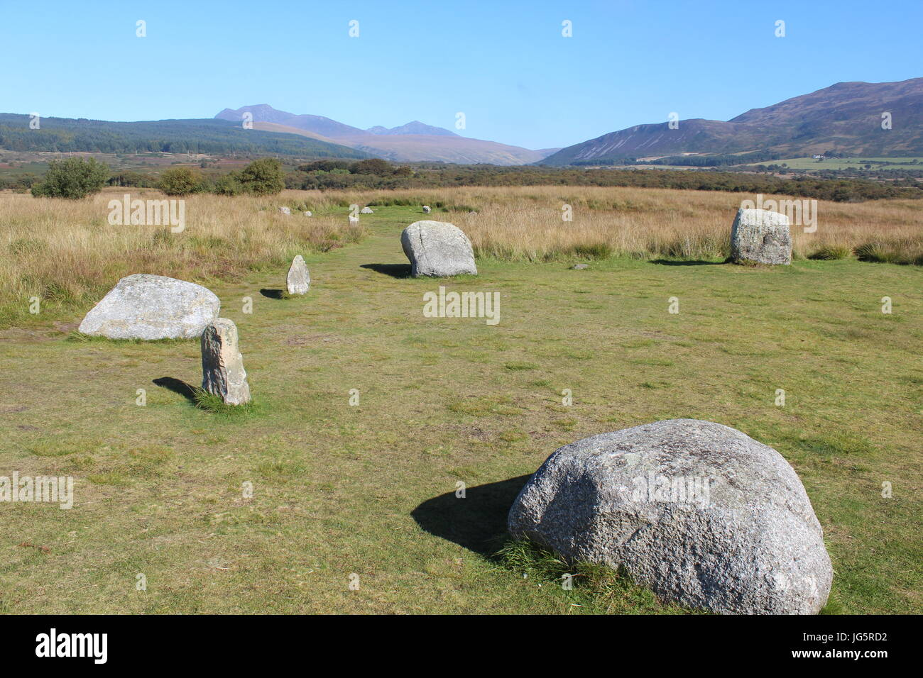 Flache Steinkreis auf Isle of Arran Stockfoto