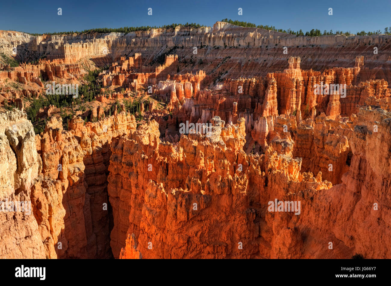 Die Aussicht vom Sunset Point bei Sonnenuntergang, Bryce-Canyon-Nationalpark, Utah Stockbild