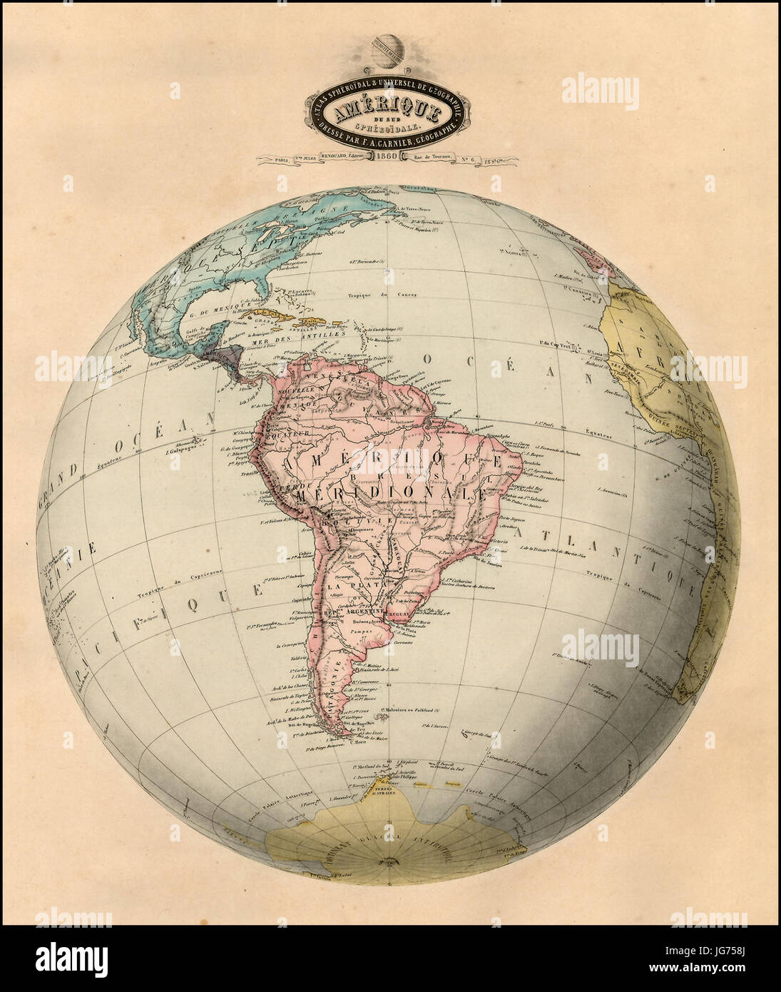 Mapa Antiguo América del Sur (Süd-Amerika alte Karte Stockfoto, Bild ...