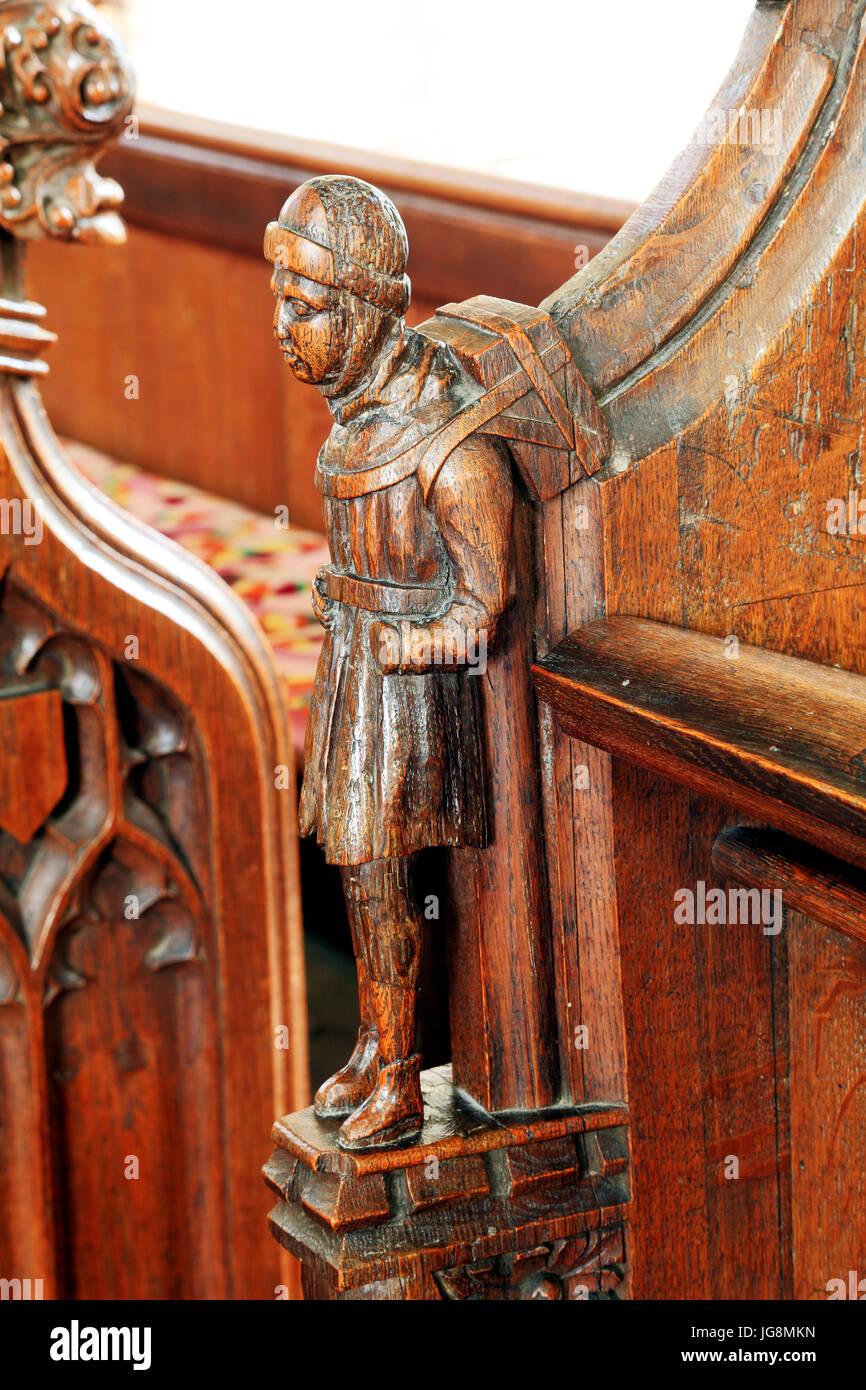 Swaffham Hausierer, mittelalterlichen Holzschnitzerei, Swaffham Kirche, Norfolk, England, UK Stockbild