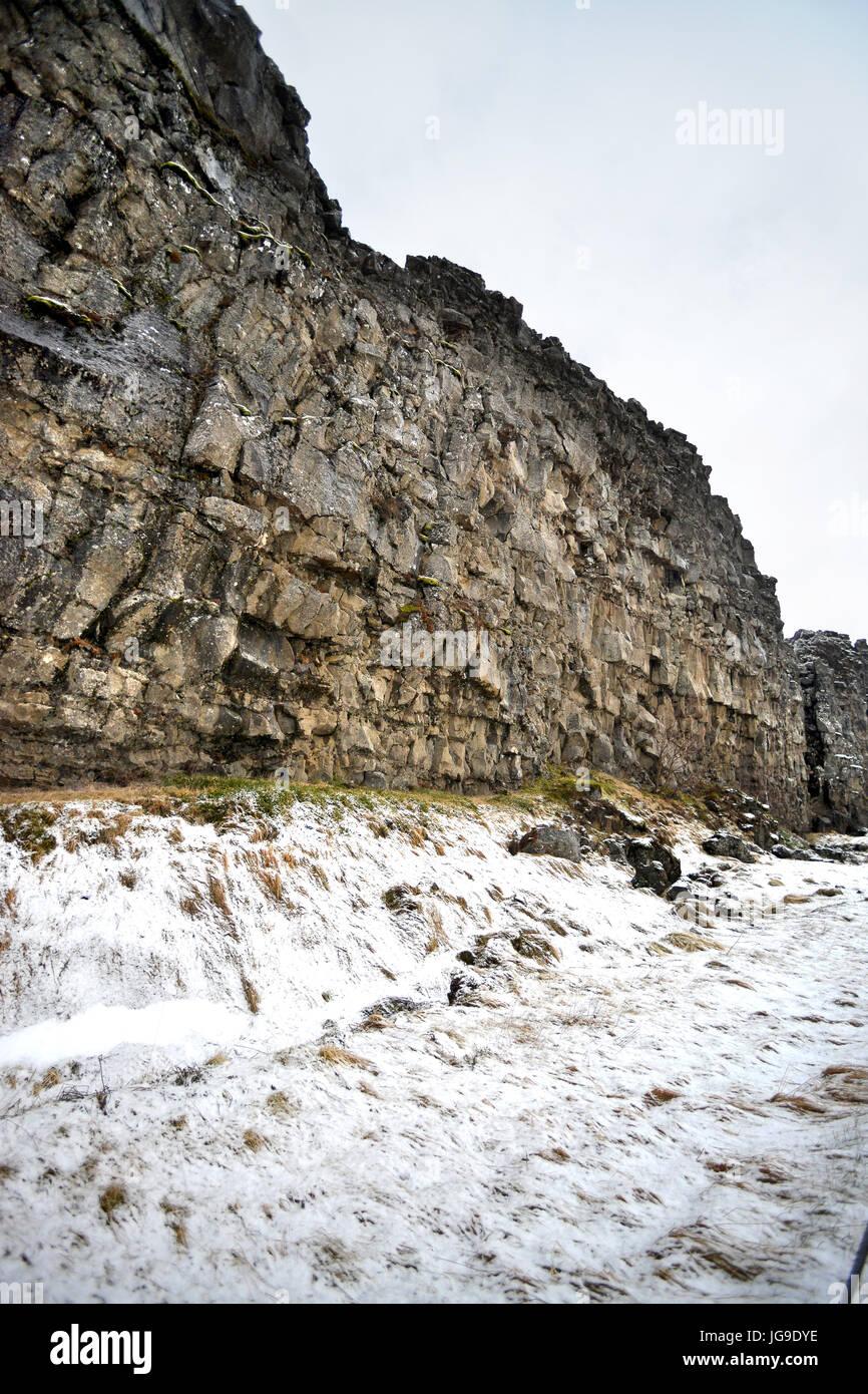 Nationalpark Þingvellir (Thingvellir), Island, die Grenze der eurasischen und nordamerikanischen tektonischen Stockbild
