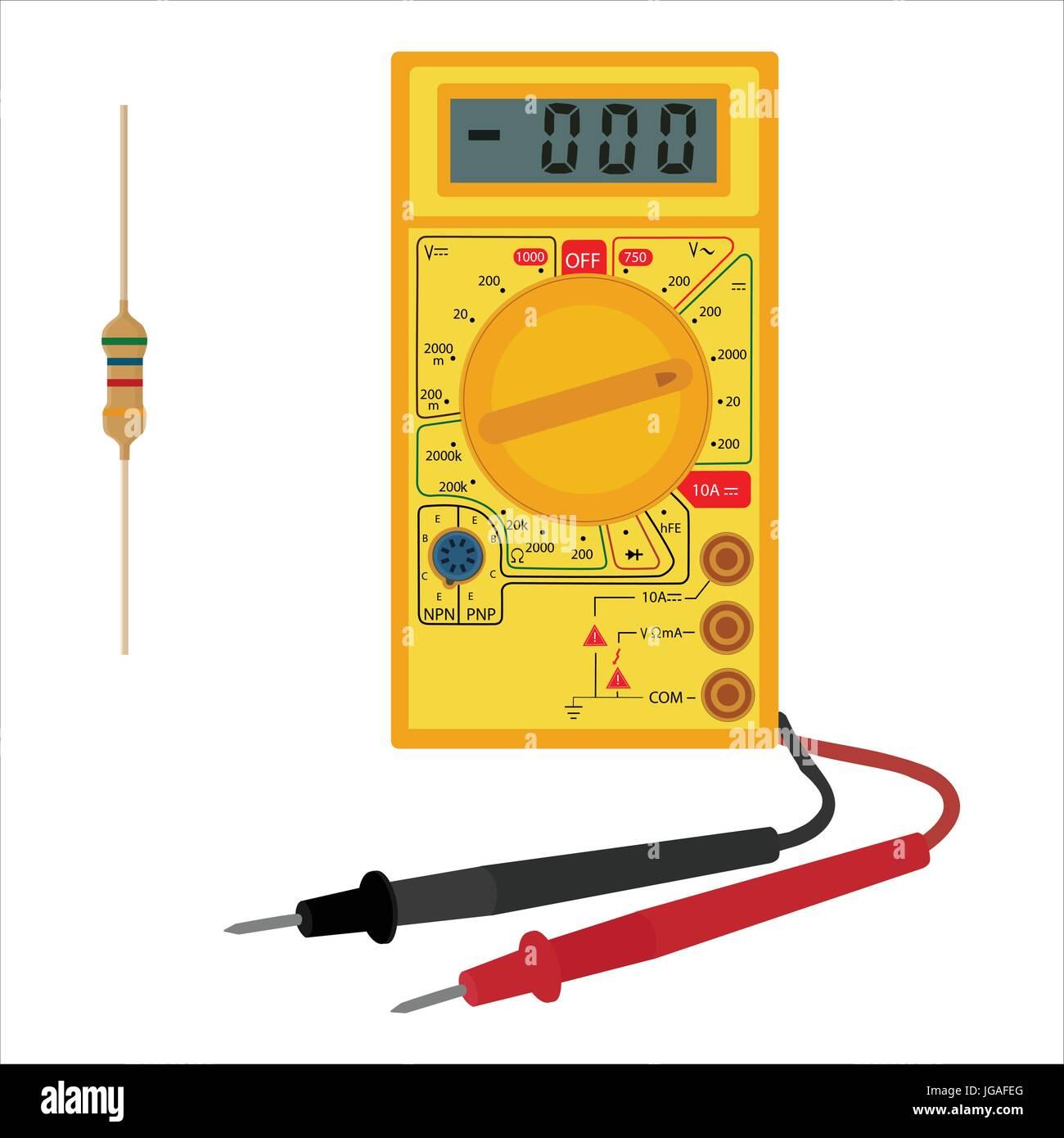 Vektor-Illustration elektrische Digitalmultimeter und Widerstand ...