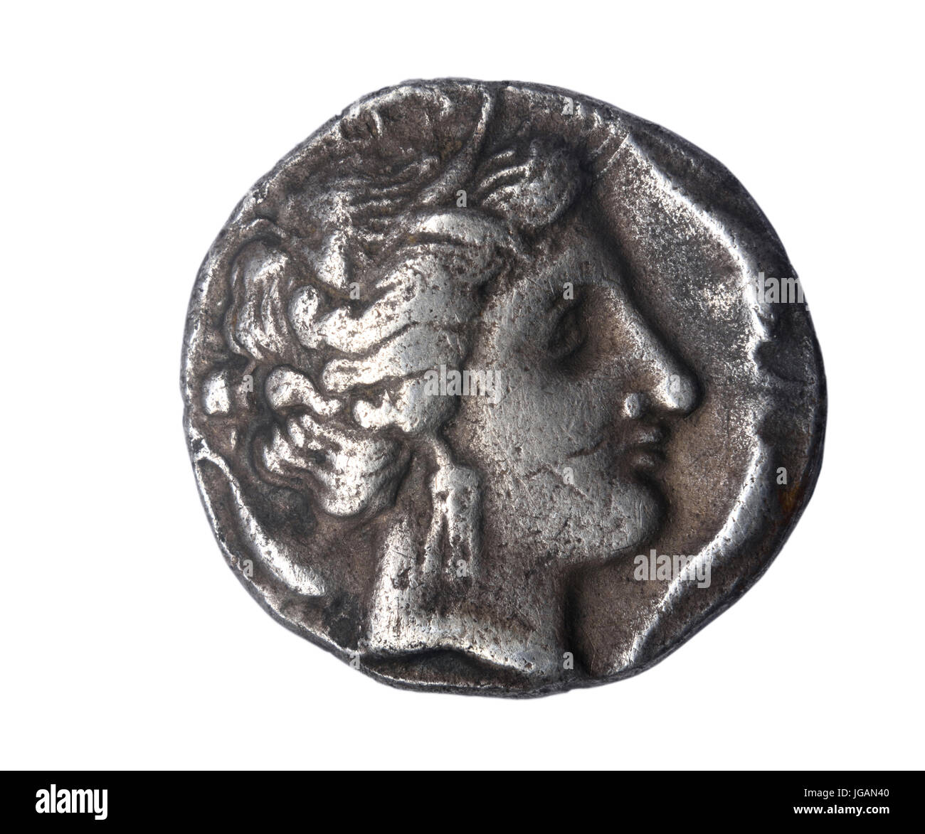Dracma, III. Jahrhundert B. C. Front: Kopf einer Göttlichkeit Reverse: Pegasus und aktuelle Legende Ampurias Emporion (von Ampuritanos) Stockfoto
