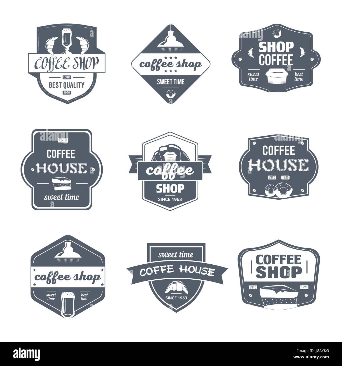 Kaffeehaus - Vektor-Set von Vintage Vorlage Logo Abzeichen. Alte ...