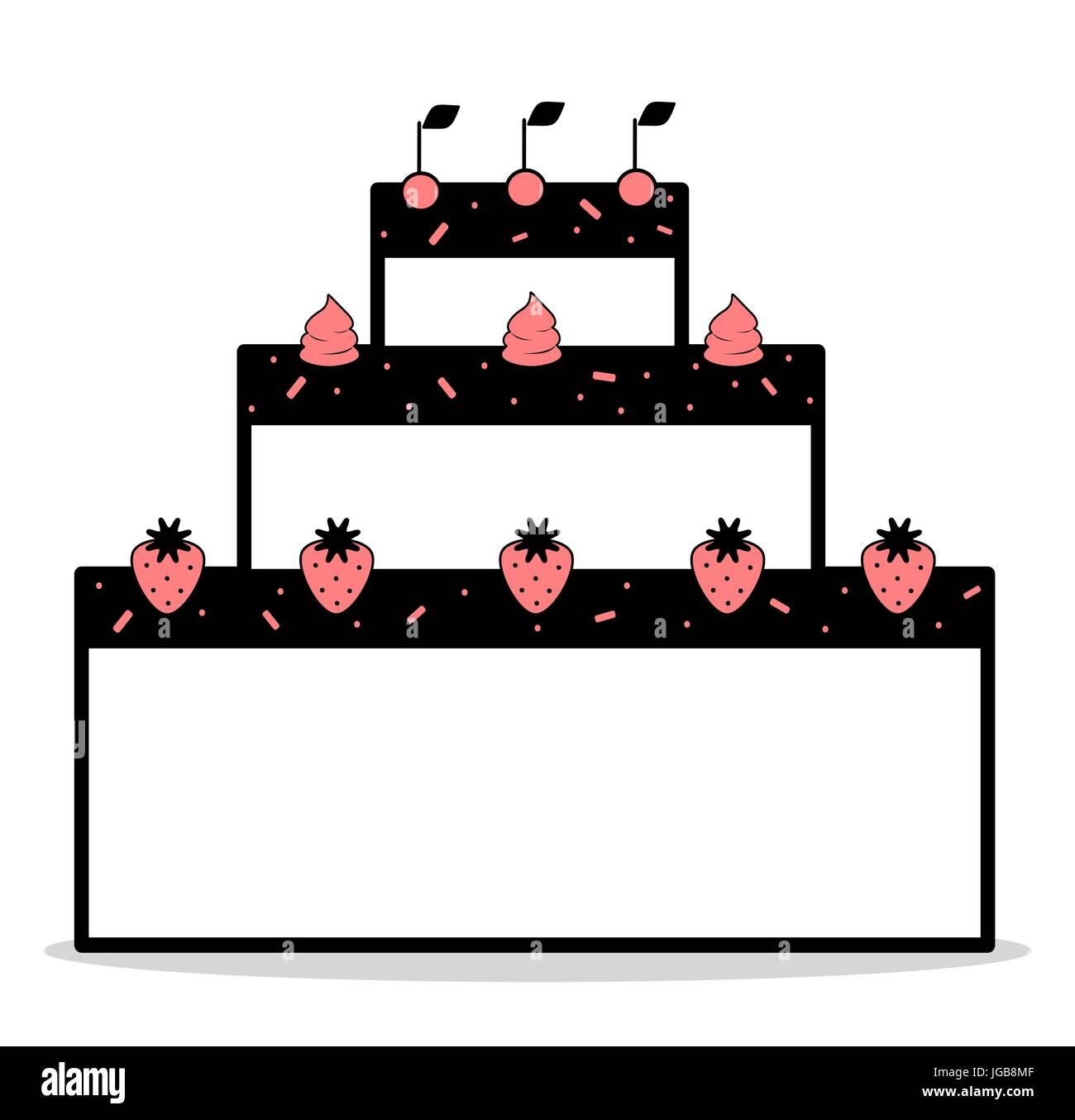 Abstrakte Cartoon Schwarz Weiss Rosa Kuchen Mit Erdbeeren Kirschen