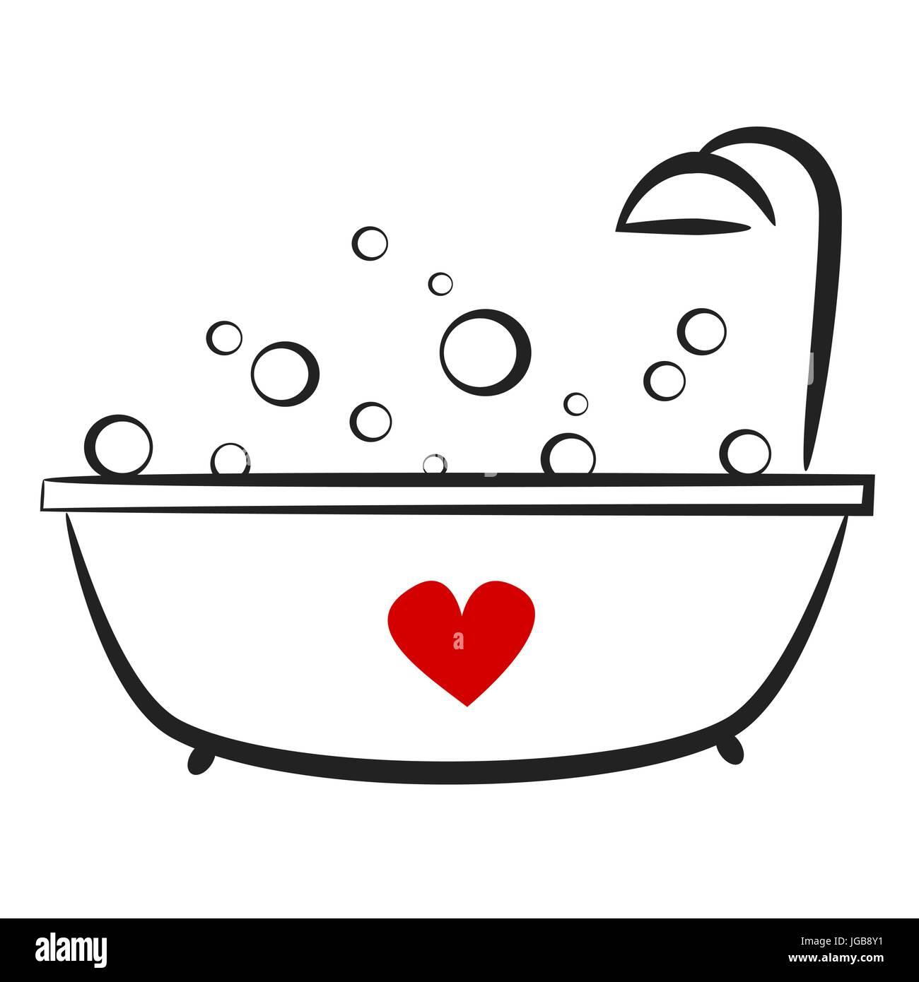 Süße Schöne Hand Gezeichnete Schwarz Weiß Badewanne Mit Roten Herzen