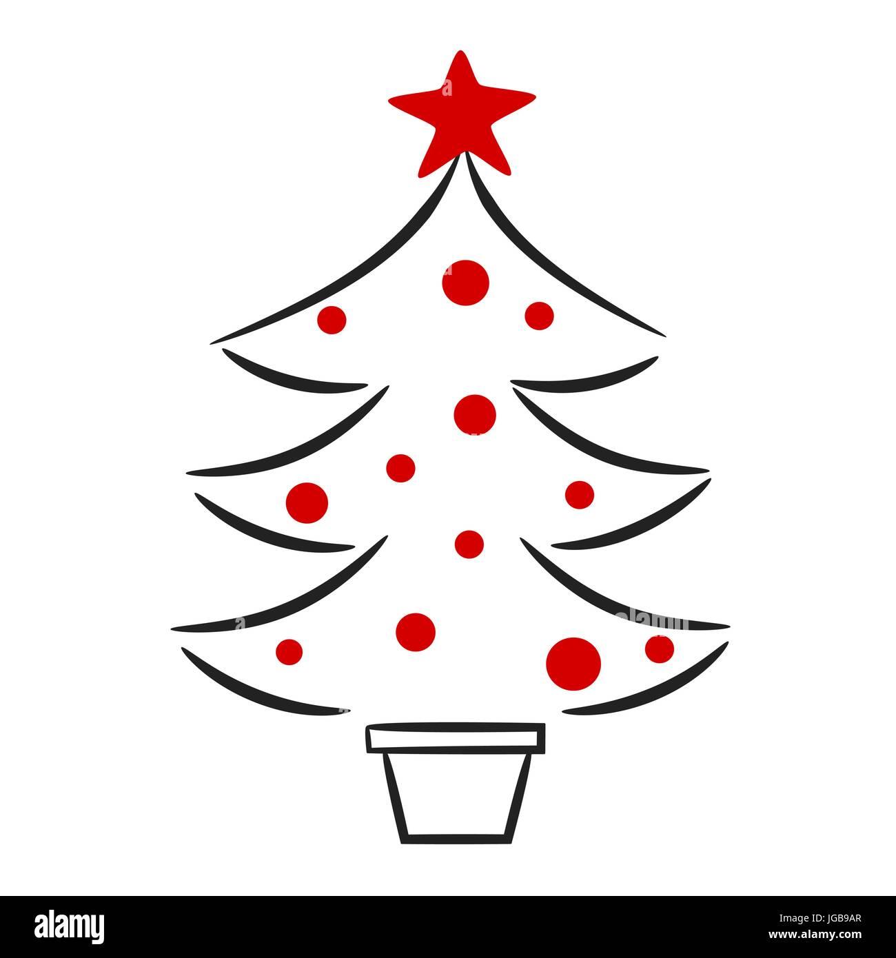 Weihnachtsbaum Schwarz Weiß.Süße Hand Gezeichnet Schwarz Weiss Rot Weihnachtsbaum Linear Vector