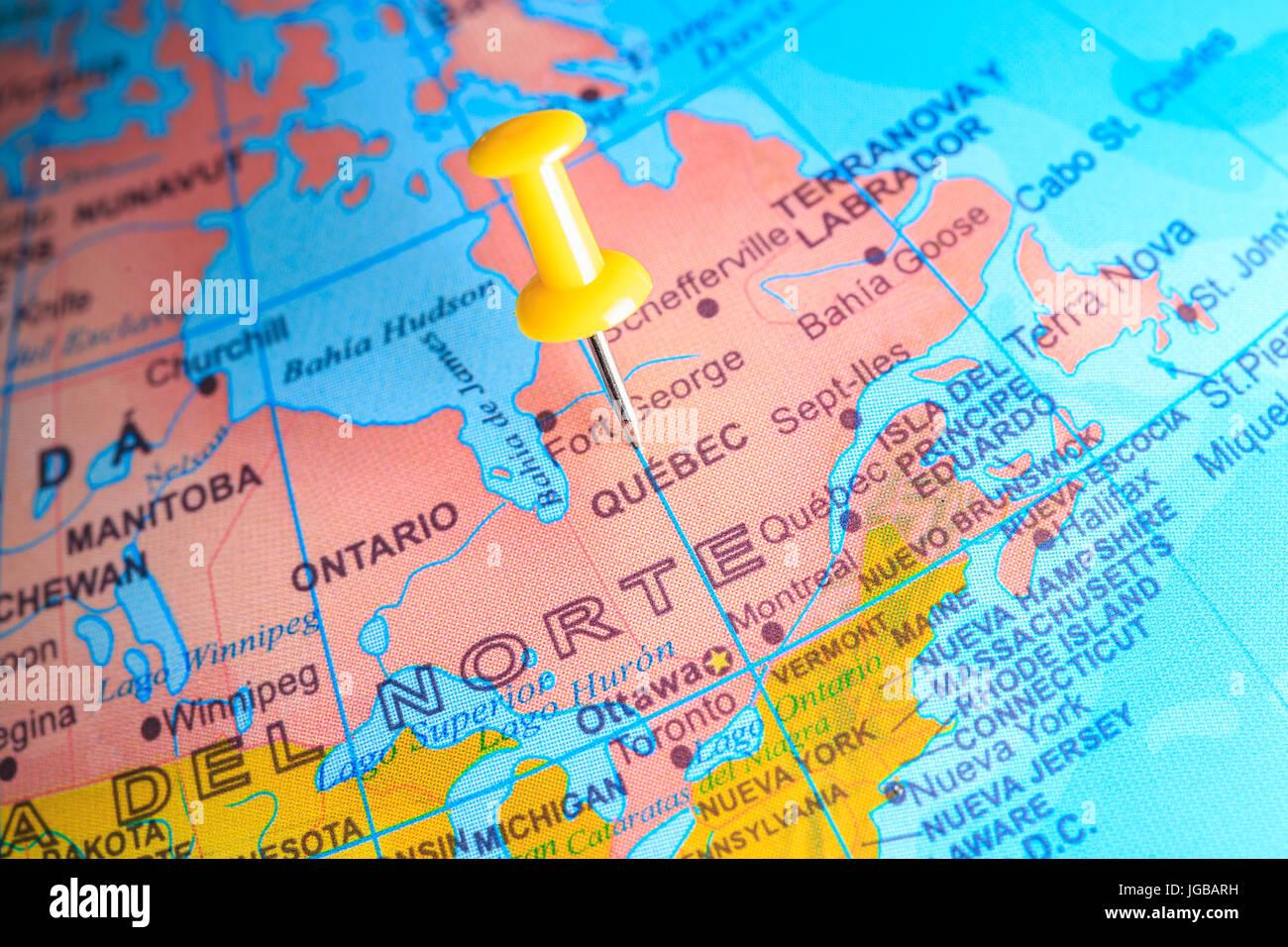 Quebec Karte.Quebec Fixiert Auf Einer Karte Von Kanada Stockfoto Bild