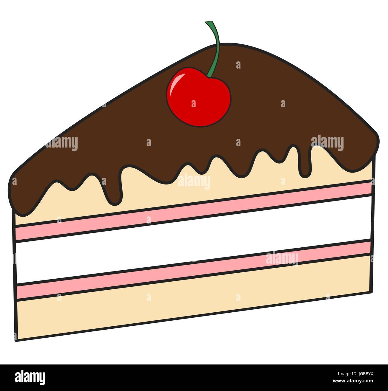 Niedlichen Cartoon Stuck Kuchen Mit Schokolade Und Kirschen Vektor