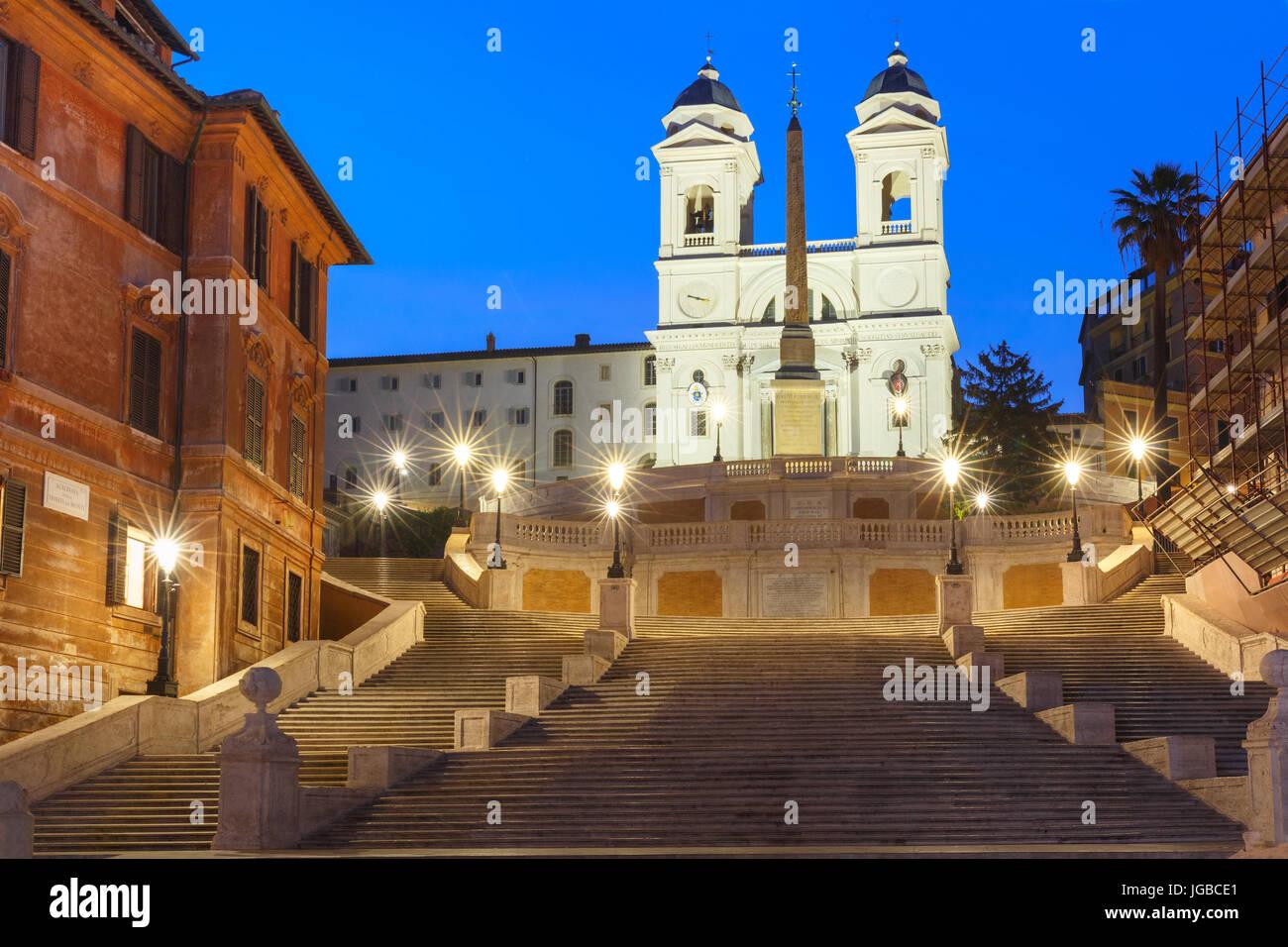 Spanische Treppe in der Nacht, Rom, Italien. Stockbild