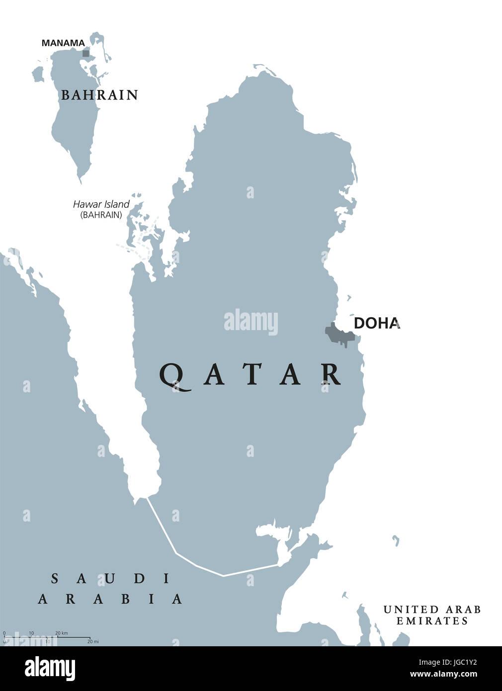 Katar Landkarte Mit Hauptstadt Doha Staat Und Souveranes Land In