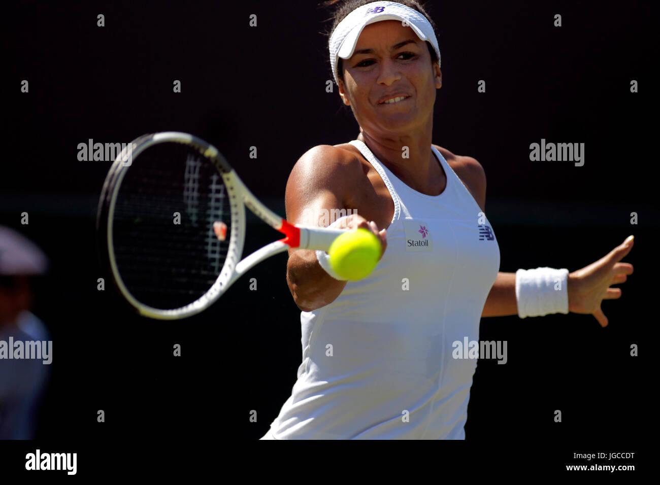 London, UK. 5. Juli 2017.  Heather Watson aus Großbritannien in Aktion in ihrem zweiten Vorrundenspiel in Wimbledon Stockbild