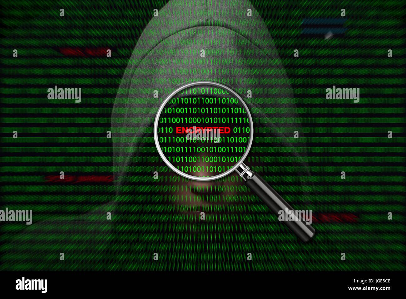 Hacker über einen Bildschirm mit binären Code und verschlüsselte Warnmeldungen Stockbild