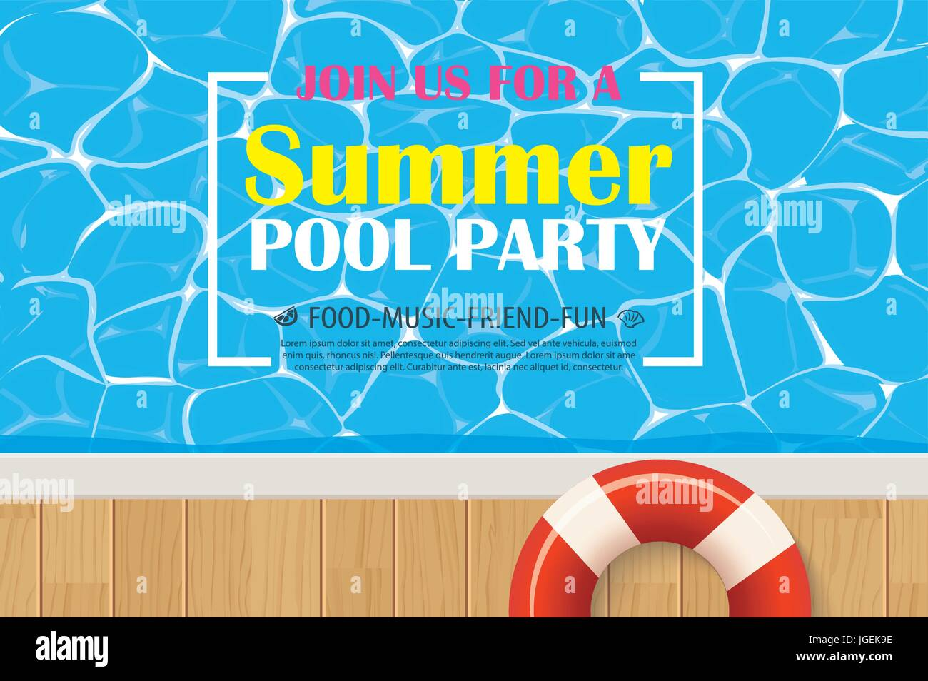 Pool Party Poster Template Design Stockfotos & Pool Party Poster ...
