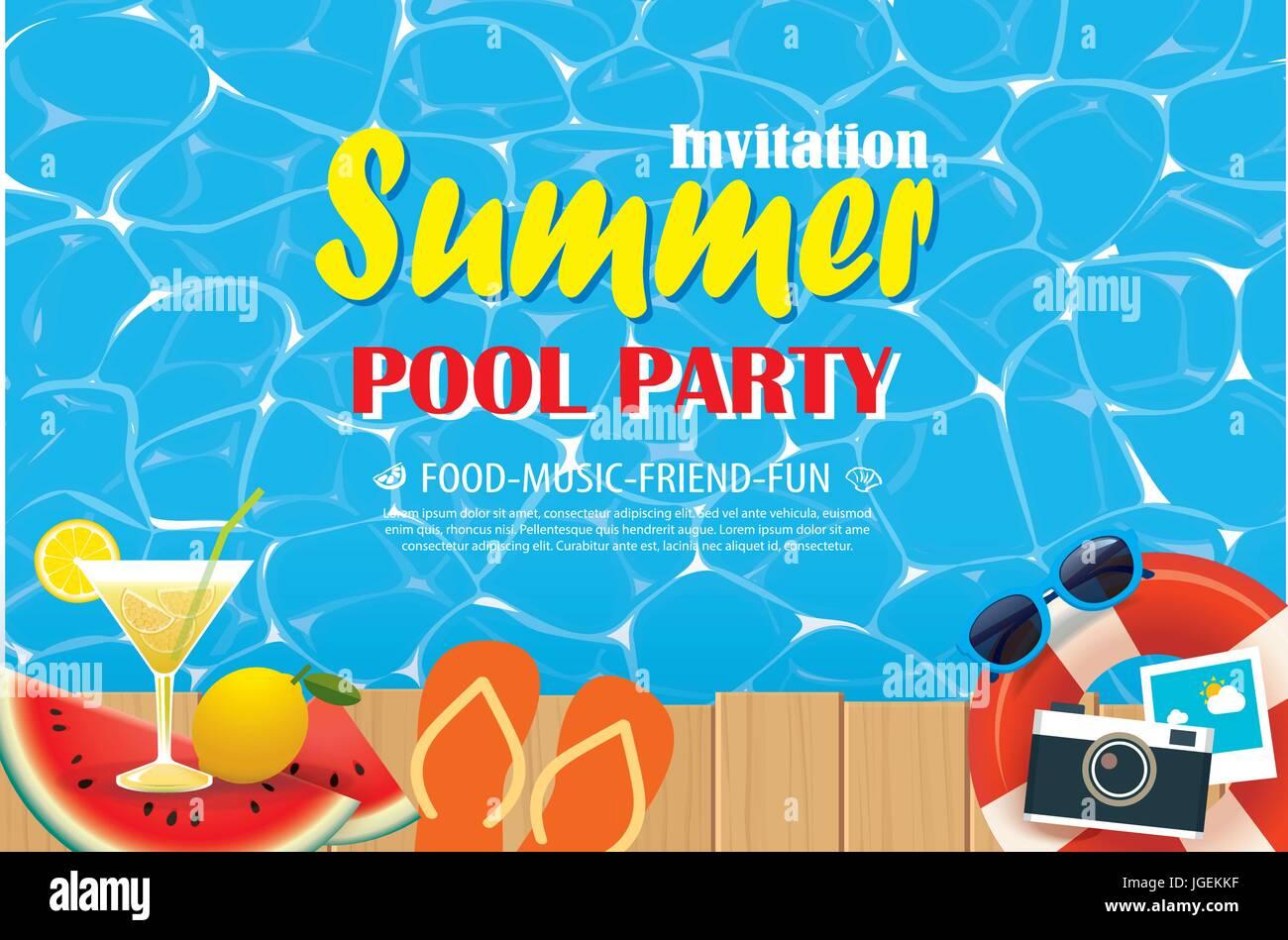 Pool Party Einladung Plakat mit blauem Wasser und Holz. Sommer ...