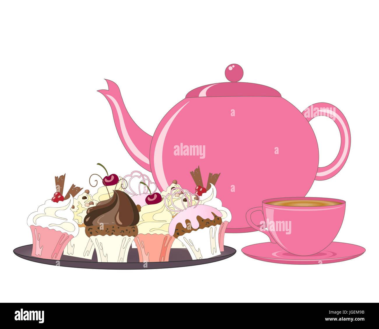Ein Beispiel Fur Eine Auswahl Von Dekorierten Kuchen Teekanne Und