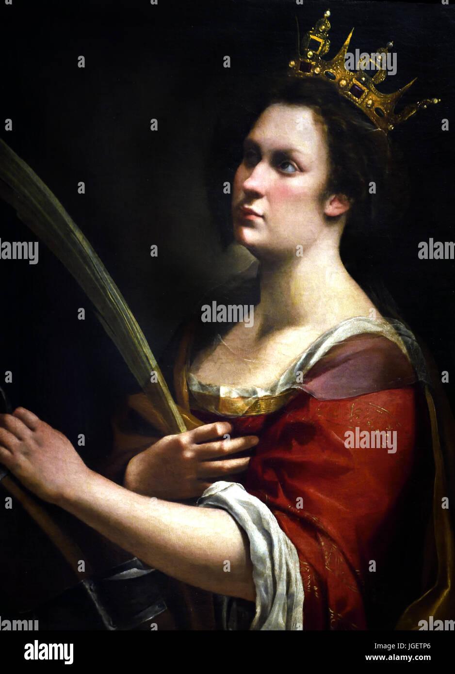Santa Katharina von Alessandria 1615-1620 durch den italienischen Barock-Künstler Artemisia Gentileschi 1614 Stockbild