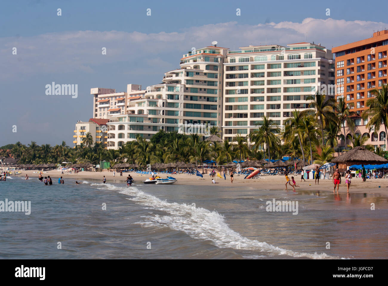 Hotels in Ixtapa/Zihuatanejo Bay Stockbild