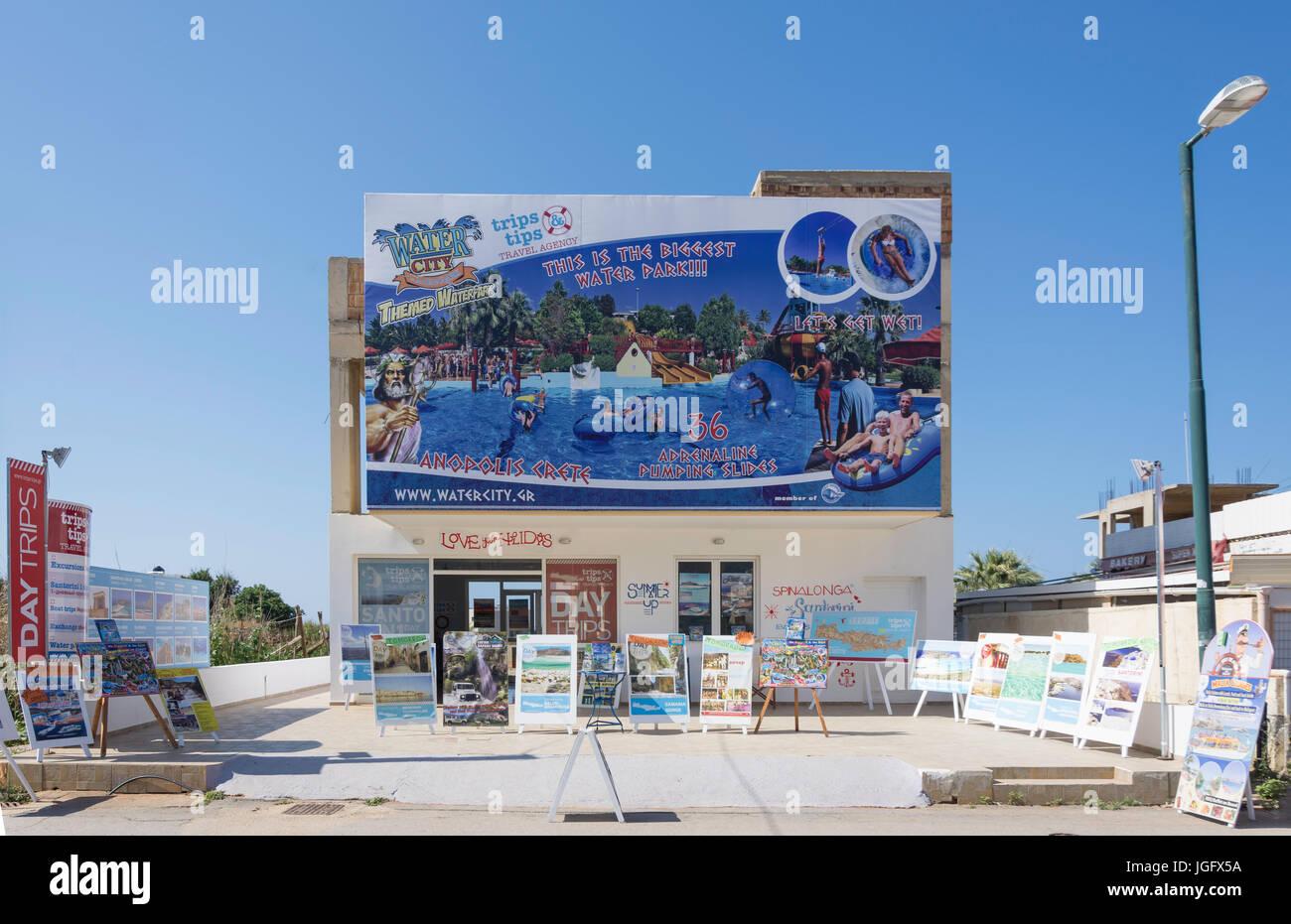 Reise Tipps, Reisebüro, Beach Road, Malia, Heraklion Region, Kreta (Kriti), Griechenland Stockbild