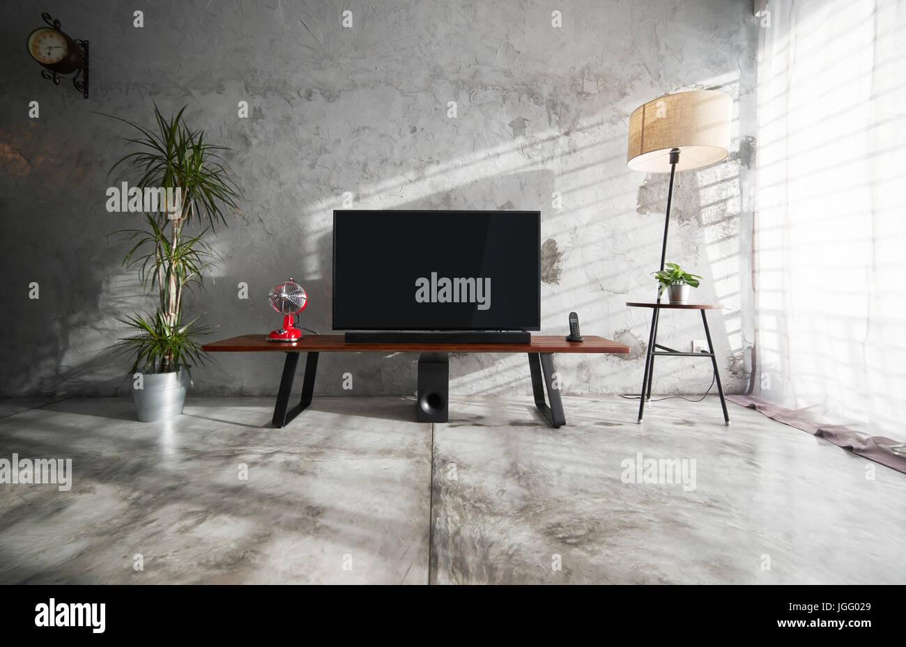 Moderne Wohnzimmer Einrichtung Mit Tv Im Loftstil Mit Hölzernen Tv