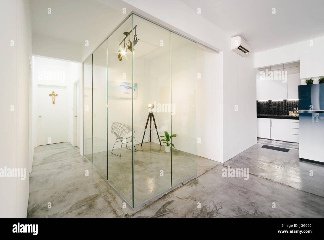 Moderne, helle, saubere, Leben, Arbeitszimmer und Küche Interieur ...