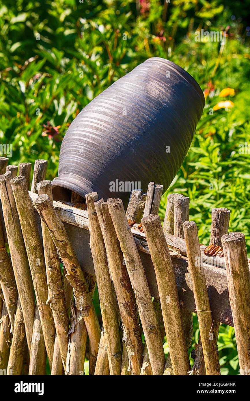 Alte Traditionelle Holzzaun Im Polnischen Dorf Polen Stockfoto