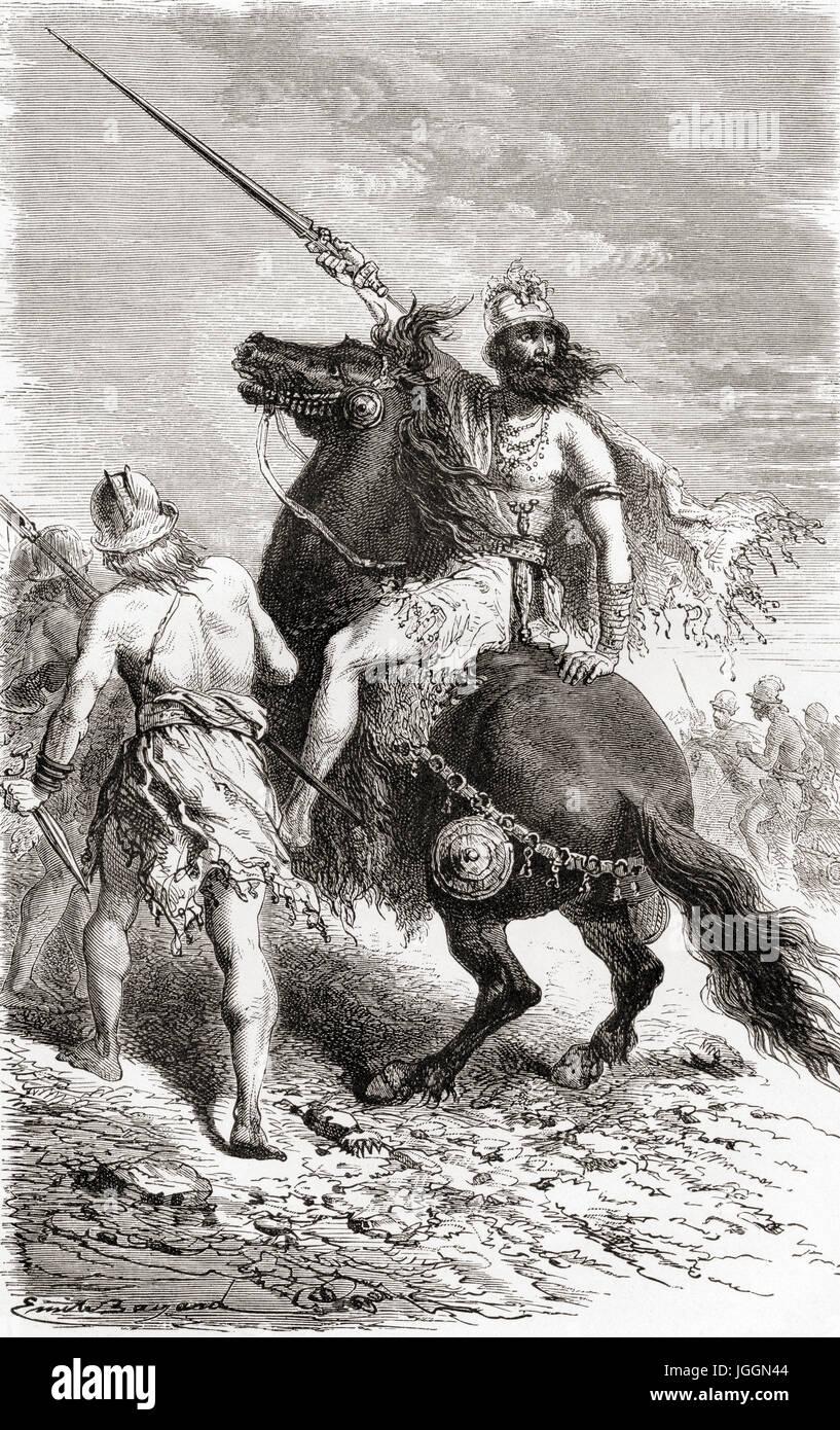 Eisenzeit Krieger.  L ' Homme Primitif veröffentlichte 1870. Stockbild