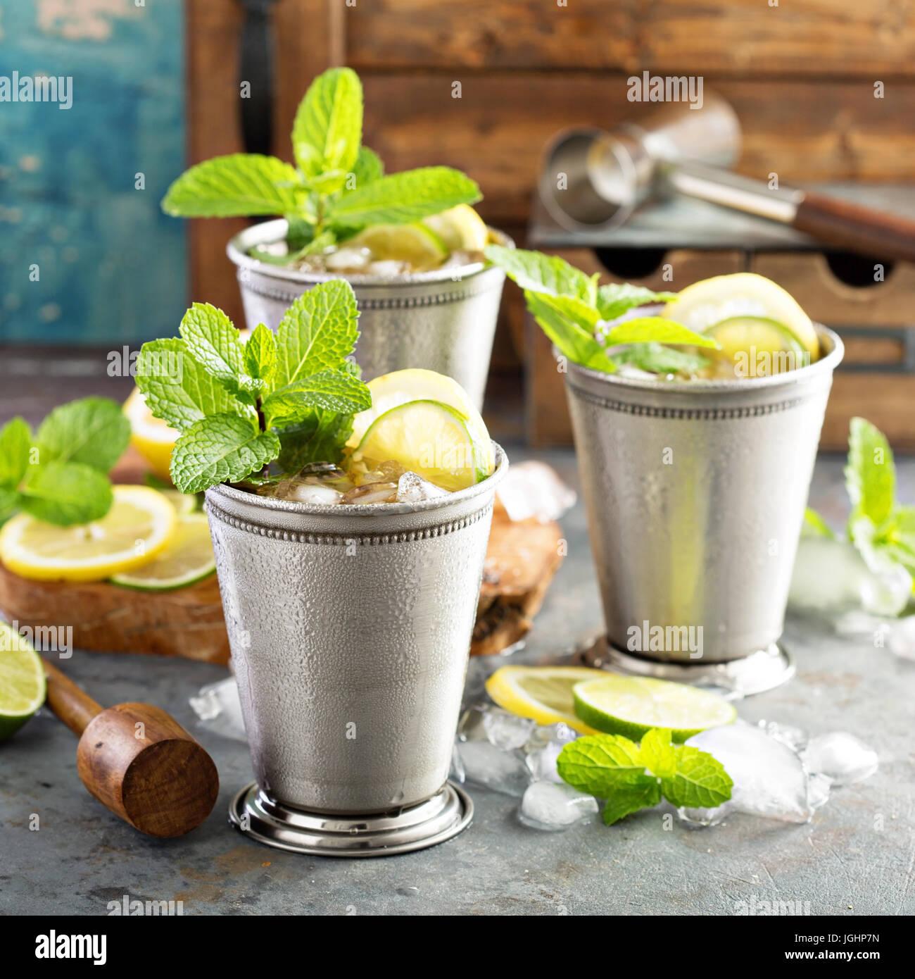 Klassische Mint Julep cocktail Stockbild