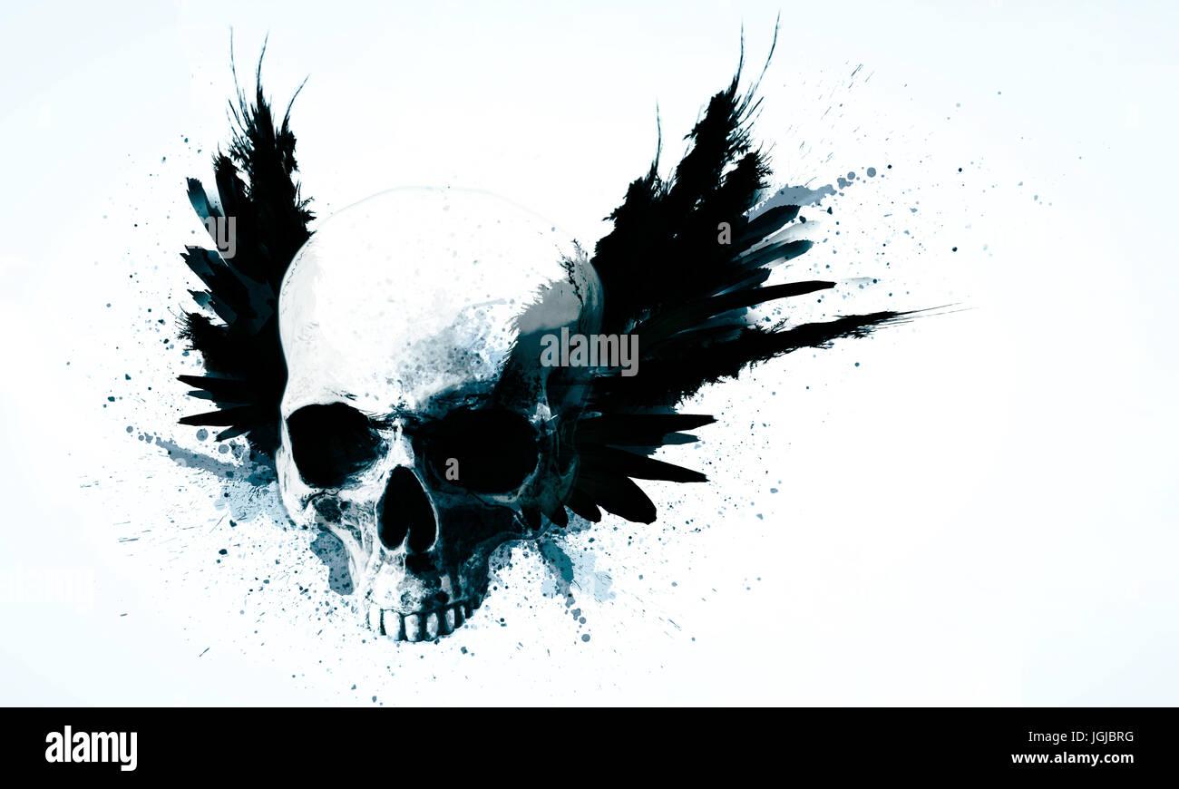 Rock ' n roll bis ich sterbe Totenschädel Abstrakt Schädel abstrakt Stockbild