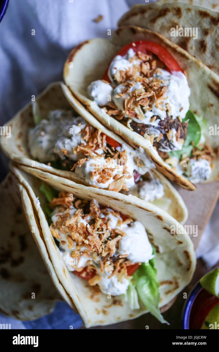 Vegetarische tacos Stockbild