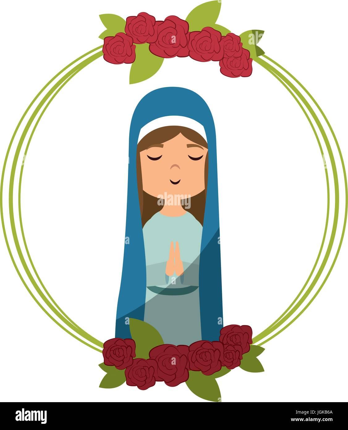 Rahmen mit Blumen und Cartoon Jungfrau Maria Symbol auf weißem ...