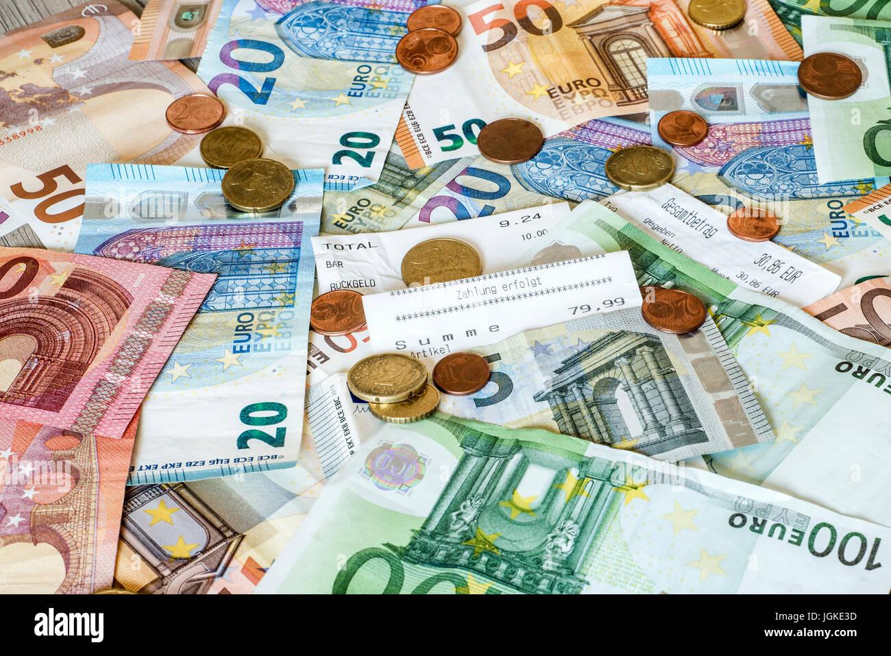 Sparen Geld Geld Konzept Euro Banknoten In Allen Größen Und Cent