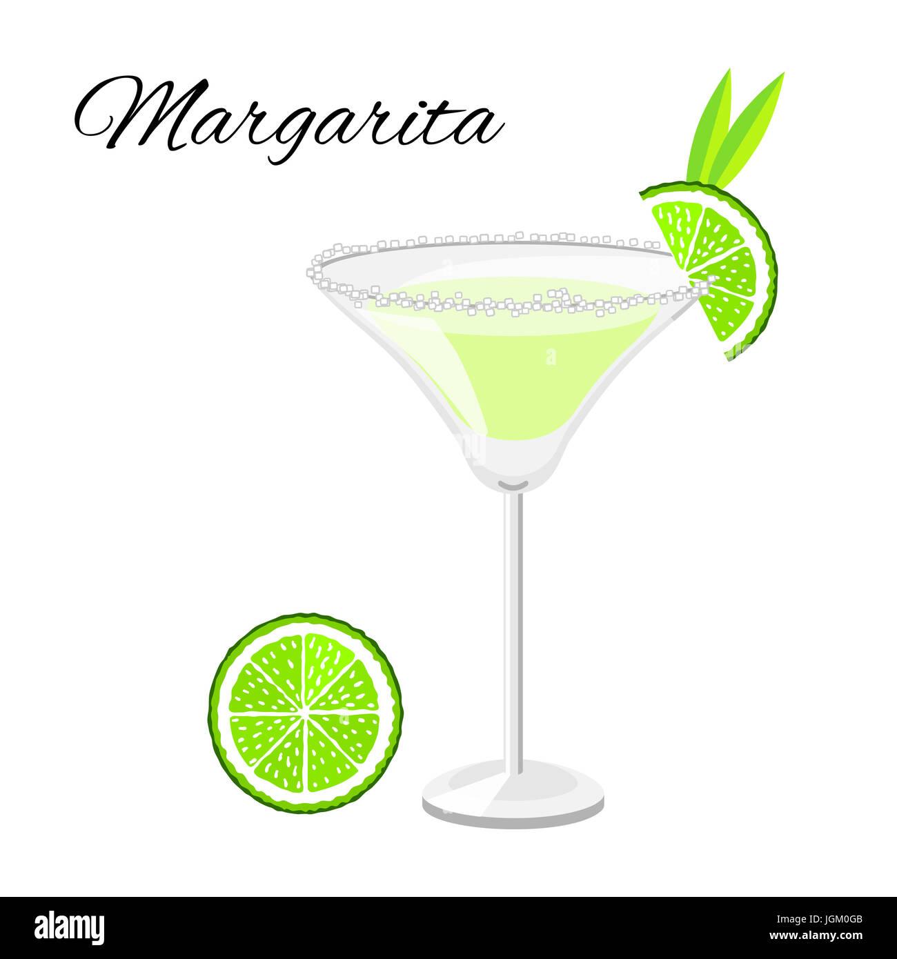 Extraordinary Beliebte Cocktails The Best Of Margarita Cocktail Cartoon-stil. Sommer-longdrink Isoliert Auf Weiss