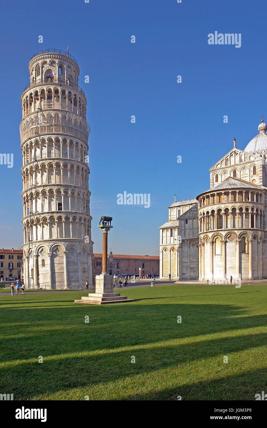 Europa, Italien, Toskana, Toscana, Pisa, Turm, krumm, skew Turm, Gebäude, Architektur, Sehenswürdigkeit, Stockbild