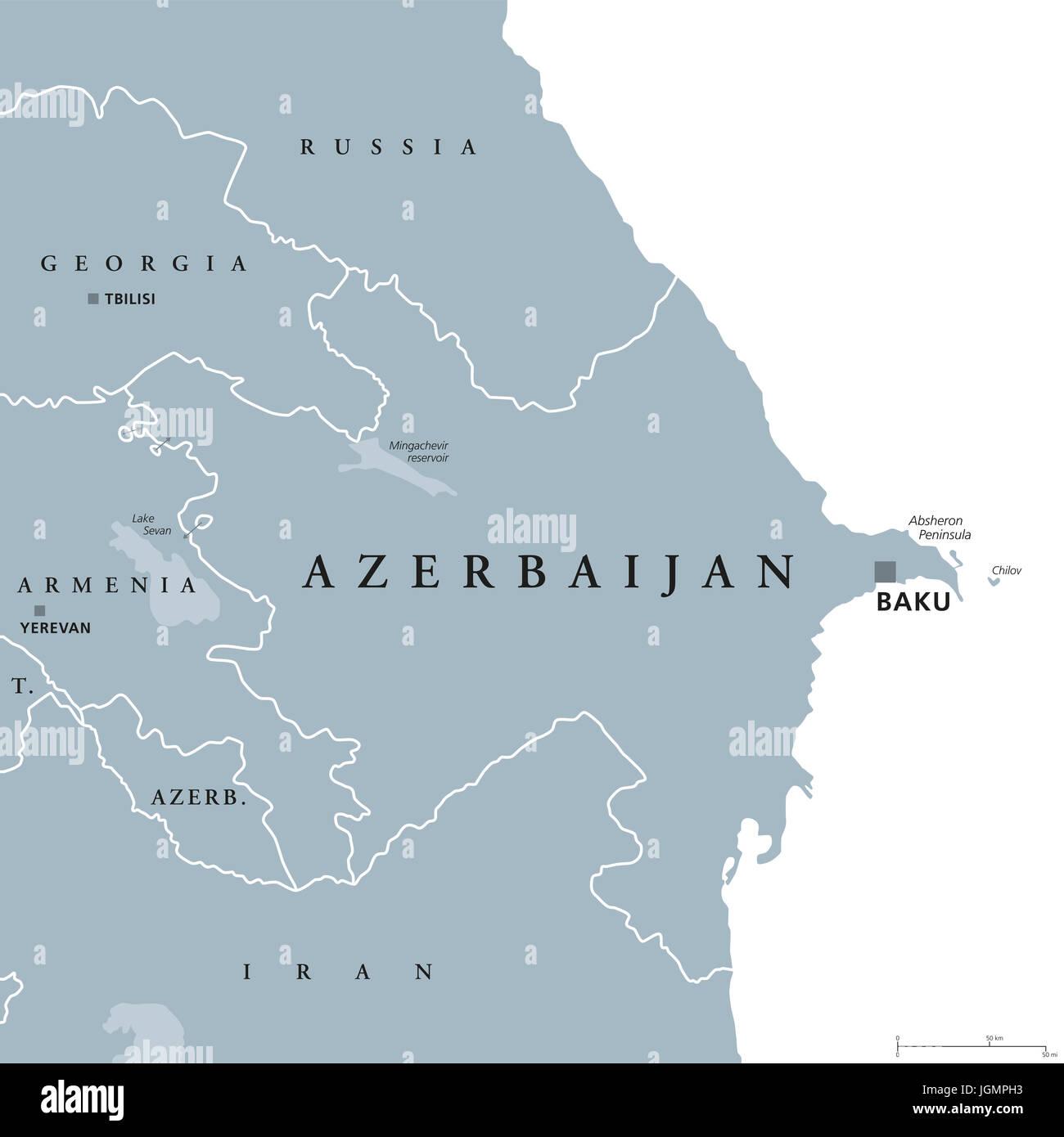 Aserbaidschan Politische Karte Mit Hauptstadt Baku Und Exklave Nachitschewan Republik Und Land Und Im Sud Kaukasus Region Vom Kaspischen Meer Gebunden Stockfotografie Alamy