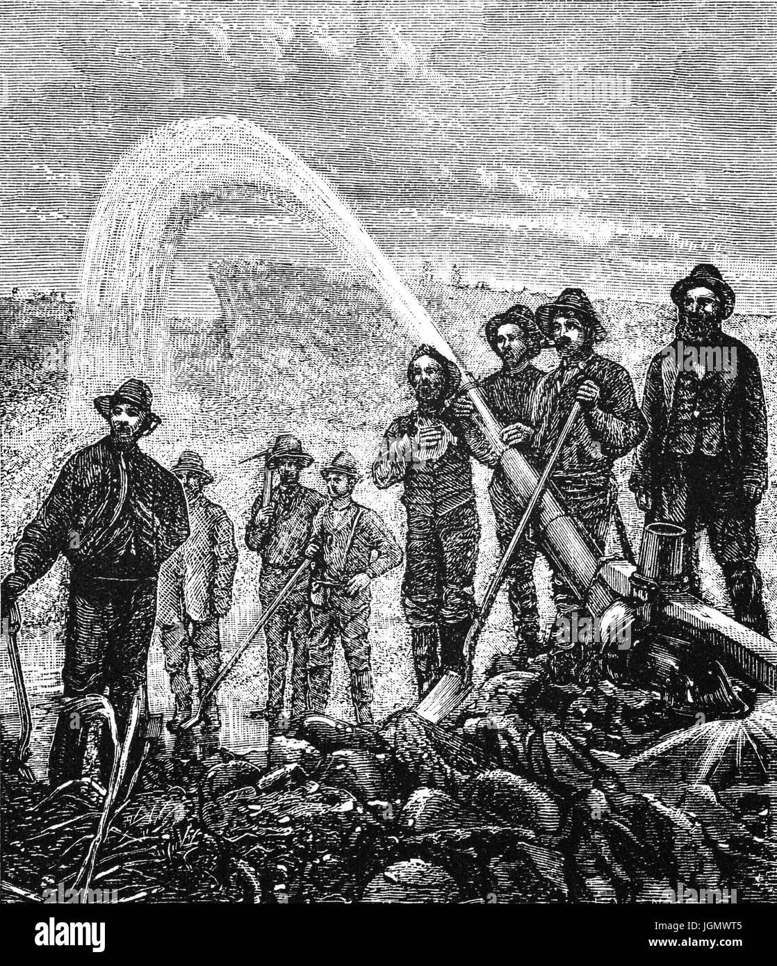 1879: Silber Bergleute mit einer Hydraulikpumpe, Utah, Vereinigte Staaten von Amerika Stockbild