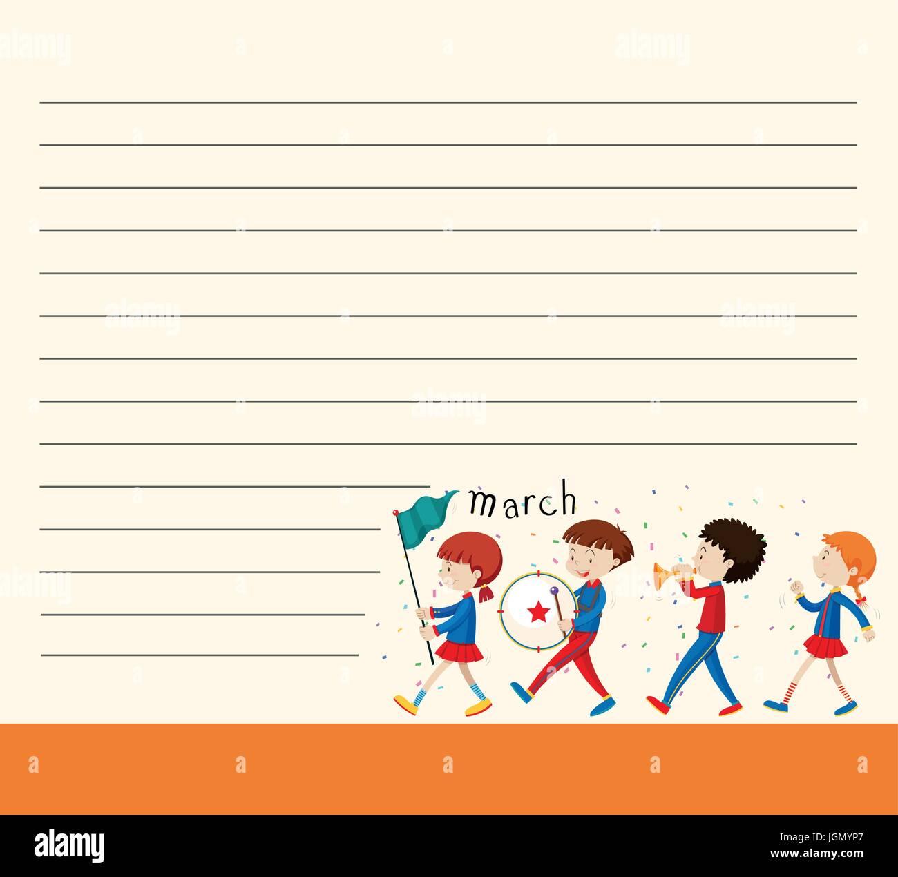Linie Papier-Vorlage mit Kindern in Schule Band Abbildung Vektor ...